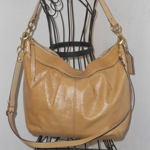 COACH BEIGE METALLIC LEATHER LARGE SHOULDER BAG